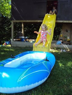 ideas for outdoor play...my brother and I loved doing this as kids. We didn't have a neighborhood pool to go to.