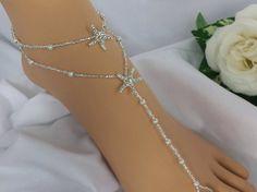 Bridal Foot Jewelry Silver Rhinestone Starfish Anklet Set Barefoot Sandal - Wedding Foot Jewelry on Etsy, $32.00