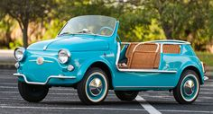 Fiat 500 Jolly 1957 in auction Fiat 500, Old Vintage Cars, Antique Cars, Lamborghini, Ferrari 458, Motos Vintage, Car Part Furniture, Furniture Design, Modern Furniture