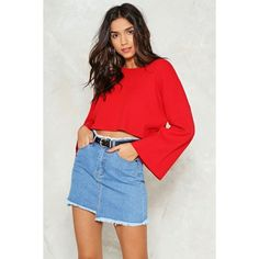 Nasty Gal Bell It Like It is Cropped Sweater ($50) ❤ liked on Polyvore featuring tops, sweaters, red, crop top, ribbed knit crop top, red cropped sweater, cropped sweater and red top