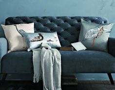 great pillow choice love the mixed indigo velvet paired with the silk.  this feels luxurious without being over the top