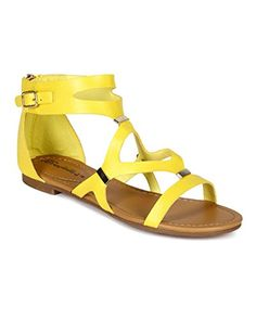 Breckelles CB02 Women Leatherette Strappy Cut Out Flat Gladiator Sandals  Yellow Size 80 * Visit the image link more details.(This is an Amazon affiliate link and I receive a commission for the sales)