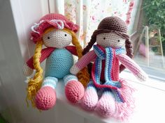 Crochet dolls - like the one with the hat, not liking the brown one's hair.