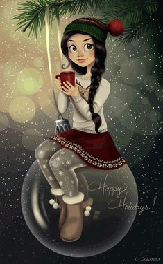 ▷ beautiful drawing ideas with detailed instructions - Beautiful Christmas picture, girl with Christmas sweater, red skirt and hat sits on Christmas ball - Christmas Drawing, Christmas Art, Beautiful Christmas, Christmas And New Year, Winter Christmas, Vintage Christmas, Christmas Decorations, Christmas Shoes, Xmas