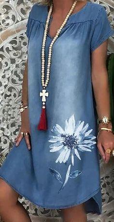 Knee Length Dresses, Short Sleeve Dresses, Denim Dresses Online, Womens Denim Dress, Daily Dress, Summer Dresses For Women, Spring Dresses, Vintage Dresses, Mini Dresses