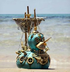 Items similar to Large Scale Steam Punk Gothic Pirate Duck Ship Pop Surealistic Sculpture. Art Steampunk, Steampunk Costume, Steampunk Fashion, Gothic Fashion, Ducky Duck, Duck Toy, Steampunk Architecture, Steampunk Accessoires, Artists