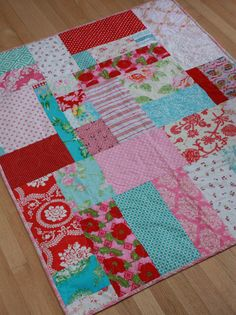 Items similar to Pink, Aqua, Red One of a Kind Baby Quilt, Made to Order. Perfect for the Crib. on Etsy Aqua Quilt, Rag Quilt, Quilt Blocks, Best Inventions Ever, Quilt As You Go, Red Turquoise, Easy Quilts, Red Christmas, Quilt Making