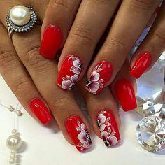 Red Nail Art, Floral Nail Art, Toe Nail Designs, Nail Polish Designs, Cute Nails, Pretty Nails, 3d Nails, Bride Nails, Stiletto Nail Art