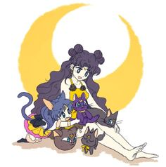 Source  All of Luna's incarnations and lookalikes: Luna, Human Luna, Sailor Luna (PGSM), plushie Luna (PGSM), Luna-P, and Luna-chan (actually a dog; from Codename: Sailor V).