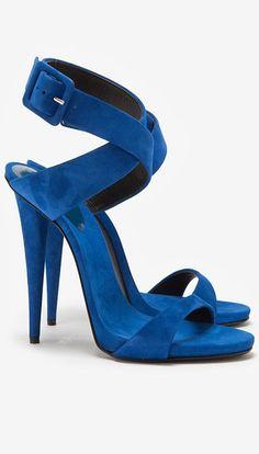 Cobalt suede sandals