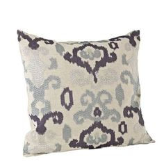 Ikat Embroidered Sage Throw Pillow 20x20