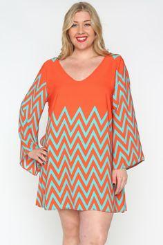 Orange and Mint Chevron Dress - #blondellamydean #plussizefashion #plussize #curves