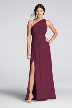 You'll love the feel of crinkle chiffon on this flowy floor-length bridesmaid dress with a one-shoulder neckline and an elegant skirt slit.   Crinkle chiffon dress features a one shoulder asymmetric necklinewith keyhole detail.  Features a side slit for added movement.  Fully lined. Zipper Back. Imported polyester. Dry clean only.  Also available in Extra Lengthsizes asStyle 4XLF18055. To protect your dress, try our Non Woven Garment Bag.