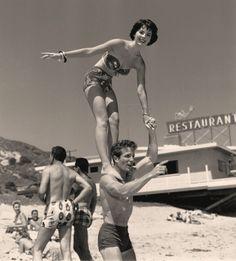 Natalie Wood on the beach.  1950's.