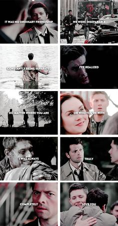 It was no ordinary friendship. We were inseparable, constantly being separated. I've realized, no matter where you are, or who you're with, I will always, truly, completely love you. #spn #destiel