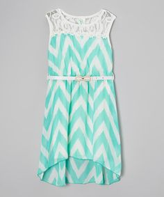 Another great find on #zulily! Mint Zigzag Lace Hi-Low Dress - Toddler & Girls by Just Kids #zulilyfinds