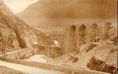 1909 : construction du viaduc d'Escot - Vallée d'Aspe, Pyrénées Atlantique