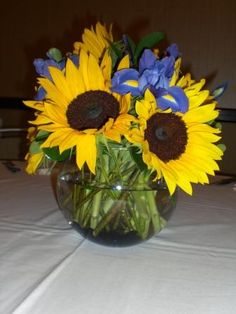 Iris and Sunflowers by Georgianne Vinicombe at Monday Morning Flower