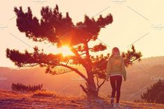 Lonely Tree on Mountain and Woman. People Photos. $10.00