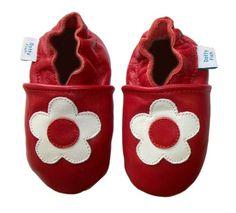 Acogedoras y suaves zapatos de cuero para bebé niña con suela de gamuza Dotty Fish Diseño De Flor – 6-12 Meses – Roja Y Blanca