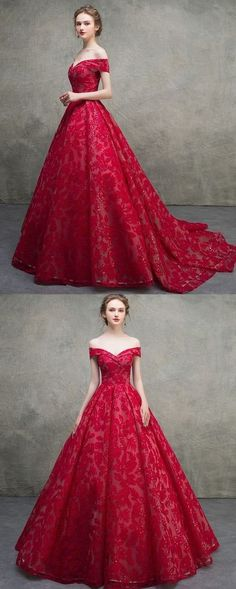 Unique Red Lace Off Shoulder Lace Up Long Senior Prom Dress, Prom Gown cg20988