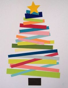 Christmas tree card - colorful