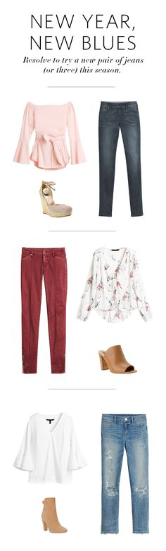 1. Straight and narrow skinny jeans get a dose of sweet with a pink bell-sleeve blouse and pom-pom wedges. 2. In red mahogany, our new skimmer jeans prove that a good red always pairs well with a romantic blouse—whipstitch mules seal the deal). 3. Destructed straight-leg crops kick street chic up a notch with our new Carmen Blouse and scrunch-back booties. Style Guide | White House Black Market