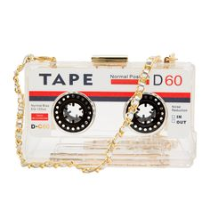 Zarapack Cassette Tape Hard Case Transparent Bag Purse Clutch (Clear)
