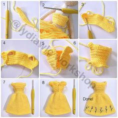 Doll Dress – Dress for doll EN: Happy Sunday to all! A few days ago I happened to see this. Amigurumi doll dress photo tutorial (no text) crochet More Click Visit link above for more options Adding hair to your crochet doll - Salvabrani ru - Playing wit Crochet Doll Dress, Crochet Barbie Clothes, Crochet Doll Pattern, Knitted Dolls, Crochet Skirts, Pattern Sewing, Crochet Ideas, Free Pattern, Crochet Dresses