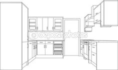 3d Single Point Perspective Line Drawing Of A Fitted Kitchen