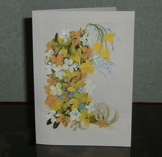 "hand painted floral greetings card original 7x5"" (ref 715) £1.50"