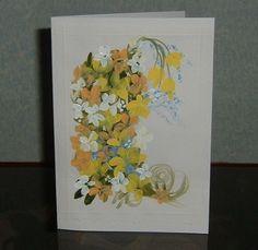 "hand painted floral greetings card original 7x5"" (ref 715) £1.50"