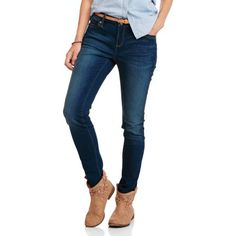 Faded Glory Women's Super Stretch Skinny Core Denim available in Regular and Petite, Size: 6A, Blue