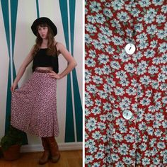 Vintage Floral 90s MIDI Skirt High Waisted WESTERN Blossom DAISY Button Up Front Boho Amy Byer California