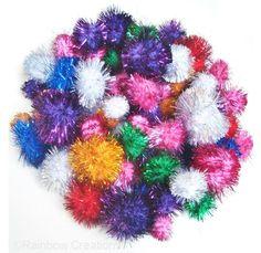 Glitter pom poms - hours of fun for a cat! Christmas Time, Christmas Cards, Homemade Cat Toys, Pom Pom Crafts, Metallic Colors, Pom Poms, Handmade Christmas, Hair Accessories, Sparkle