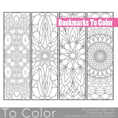 Coloring page bookmarks. Bookmarks to color - great last minute gift idea.