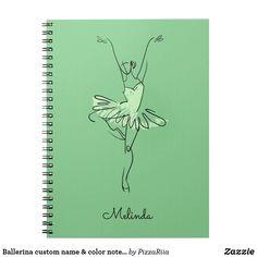 Ballerina custom name & color notebook