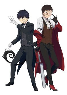 Yukio looks so weird so at first I didn't think it was official art. Then I saw it on instagram.... || Blue exorcist / ao no exorcist and black butler / kuroshitsuji crossover advertisement event