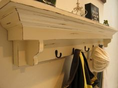 Coat Hook Shelf in Antique White   Haven by WestMillsWoodworking, $190.00