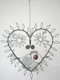 Wire Art Heart Sculpture With Leaves And Flowers And A Bird For Your Wall Or Window 20x22cm $57.86