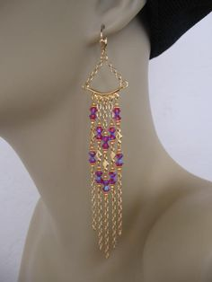 Swarovski Chandelier Chain Earrings  Fuchsia by pattimacs on Etsy, $30.00