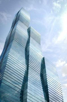 Currently under construction, Studio Gangs Vista tower in Chicago will soon surpass the height of the nearby Aqua skyscraper. #dwell #time #modernarchitecture #jeannegang
