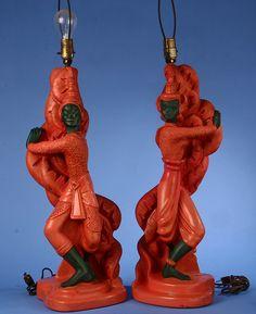 Interesting pair of Stern (California) Thai figural chalkware lamps, circa 1950's