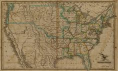 [Map of] United States : a very scarce early 19th century map showing the huge Missouri Territory and a large Oregon Territory, with no boundary to distinguish between the two. [SHS Map 800 J583 1823]