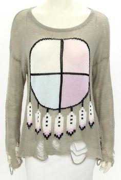 Wildfox White Label Grey & Multicolor Dreamcatcher Pattern Sweater Size XS #WildfoxWhiteLabel #ScoopNeck