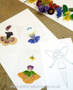 Flower Fairy Outfits and Doll with free printable template, from Artful Adventures - what to do with pressed flowers