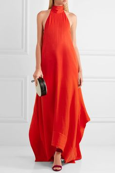 Solace London - Esme Woven Halterneck Gown - Red