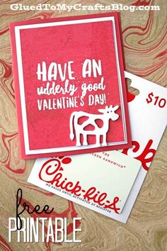 Udderly Good Valentine's Day - Free Card Printable - Chick-Fil-A Gift Idea Udderly Good Valentine's Day - I'm going to help you unlock what friends, family and even your child's teacher will want this Valentine's Day holiday. Valentines Day Holiday, Teacher Valentine, Teacher Gifts, Valentine Day Gifts, Kids Valentines, Valentine Ideas, Holiday Crafts, Cool Birthday Cards, Diy Birthday