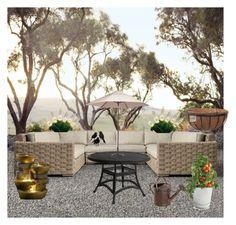 """Garden fun "" by halah6 on Polyvore featuring interior, interiors, interior design, home, home decor, interior decorating, Restoration Hardware, Hearts Attic, Zuo and Jeco"