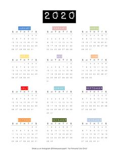 Free DIY Printable Bullet Journal and Planner Calendar SUNDAY and MONDAY START available 2020 Calendars! Vintage label style calendar with both black… Bullet Journal Year At A Glance, Bullet Journal 2019, Bullet Journal Ideas Pages, Bullet Journal Layout, Bullet Journal Inspiration, Bullet Journal Timetable, Bullet Journal Calendar Printable, Printable Yearly Calendar, Free Printable Calendar